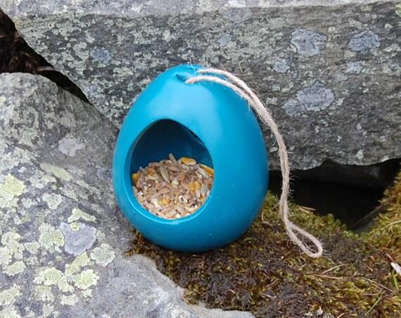 Teal Blue Green Ceramic Wild Bird Seed Feeder  - Gardening - Scottish Gifts - Birds - Apple - Balls - Scotland - Gardener - Nature - Garden