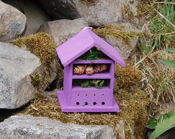 Purple  Wooden Insect House - Bug Hotel - -Beasts Vacation - Bee House - Gardening Gifts - Garden - Scottish Gifts - Scotland