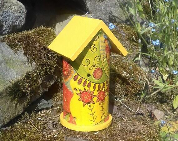 Retro Yellow Multi Rainbow  Wooden Ladybird House Hotel - Ladybug - Insect House - Bug Hotel - Bee House - Gardening Gifts - Scottish Gifts