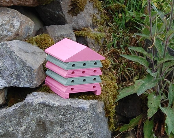 Wooden Bee Hive House - Pink & Green Stripe - Insect House - Bug Hotel - Bee House - Gardening Gifts - Garden - Scottish Gifts