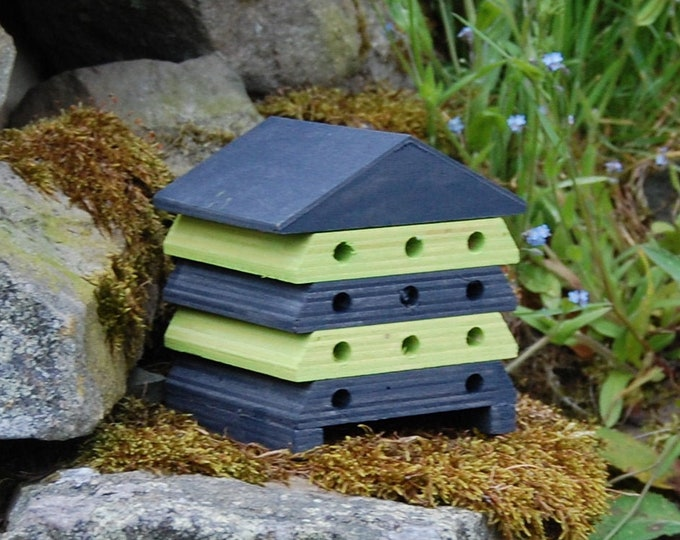 Wooden Bee Hive House - Grey Gray and Lime Green Stripe - Insect House - Bug Hotel - Bee House - Gardening Gifts - Garden  - Scotland