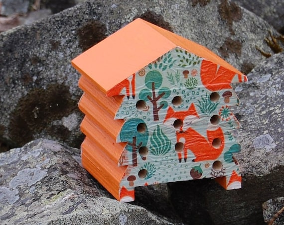 Orange Fox - Foxes - Wooden Bee Hive House - Insect House - Bug Hotel - Bee House - Gardening Gifts - Garden