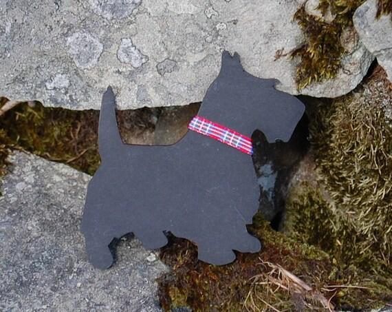 """Black  """"Wee Dug"""" Fridge Magnet with Red Tartan Collar - Scottish Gifts - Westie - Scottie - Puppy - Dog"""