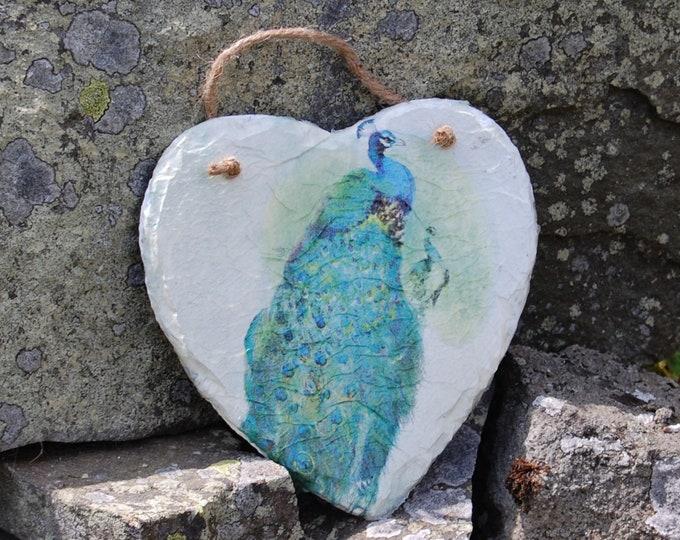 Peacock Slate Heart Hanger - Hanging Heart  - Garden Decor - Decorative Sculpture