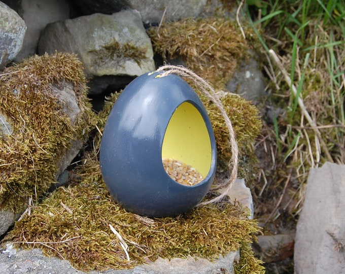 Two Tone Slate Grey and Bright Yellow Ceramic Wild Bird Seed Feeder  - Gardening Gifts - Scottish Gifts - Birds - Apple - Balls - Suet