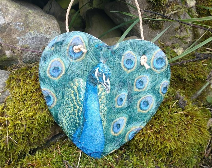 Peacock Slate Heart Hanger - Hanging Heart  - Garden Decor - Decorative Sculpture