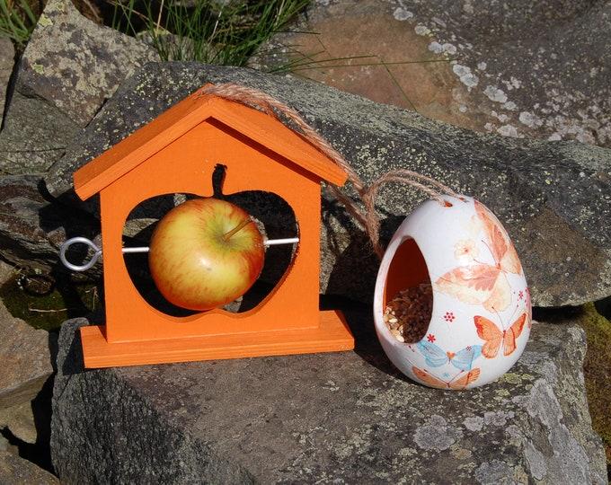 Orange Butterflies Bird Feeder Christmas Gift Set Ceramic Wild Bird Seed Feeder & Fruit Fat Ball Feeder, garden, gardening