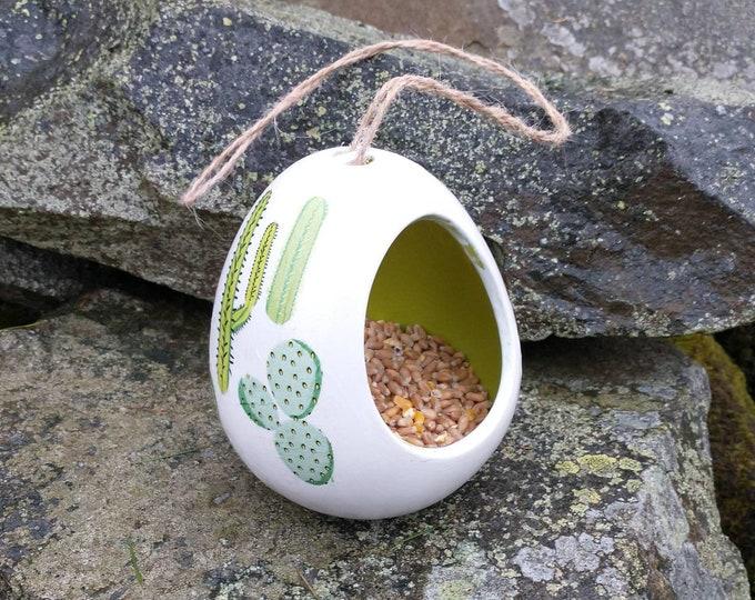 Cacti Cactus  Two Tone White and Lime Gree Ceramic Wild Bird Seed Feeder  - Gardening Gifts - Scottish Gifts - Birds - Apple - Balls - Suet