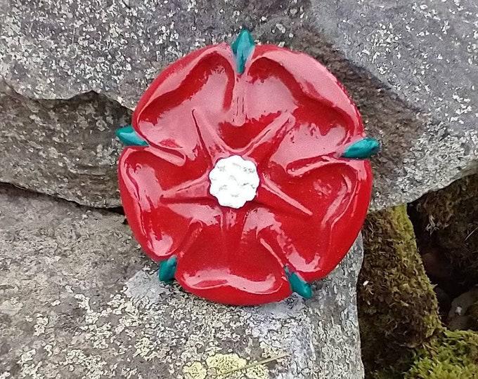 Red Lancashire Rose Wall Hanging