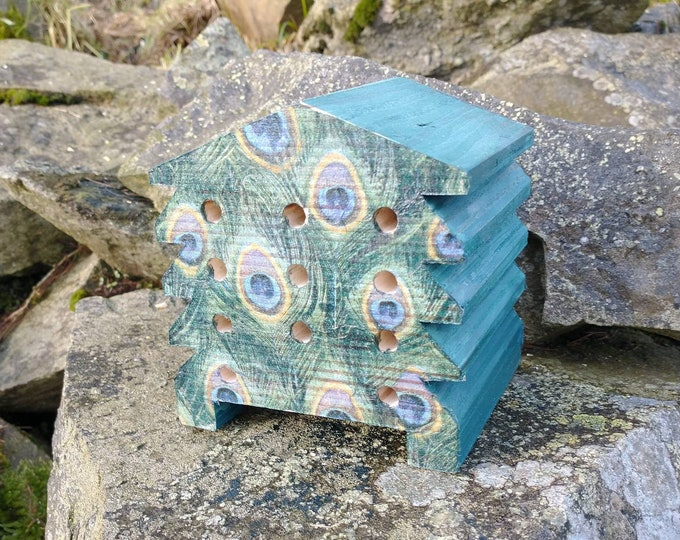 Peacock Feathers, Green & Blue - Wooden Bee Hive House - Insect House - Bug Hotel - Bee House - Gardening Gifts - Garden - Beehive