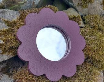 Plum Daisy Flower Wooden Garden Mirror - Garden Décor - Wall Art