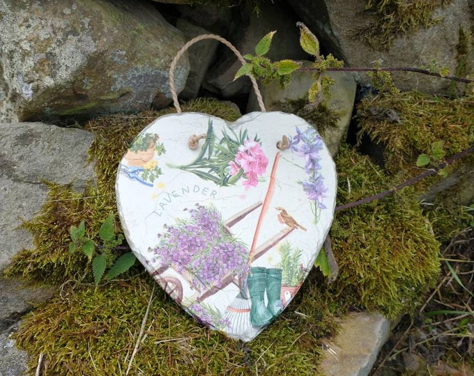 Lavender Wheelbarrow Slate Heart Hanger - Hanging Heart  - Garden Decor - Decorative Sculpture Gardening - Tools - Wellies
