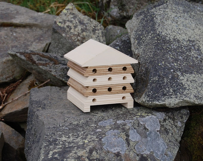 Wooden Bee Hive House -Gold and Cream Stripe - Insect House - Bug Hotel - Bee House - Gardening Gifts - Garden - Beehive - Scotland