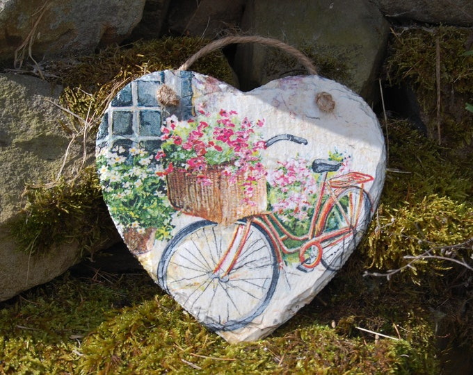 Country Cottage Retro Bicycle, Flowers, Slate Heart Hanger - Hanging Heart  - Garden Decor - Decorative Sculpture, Shabby Chic