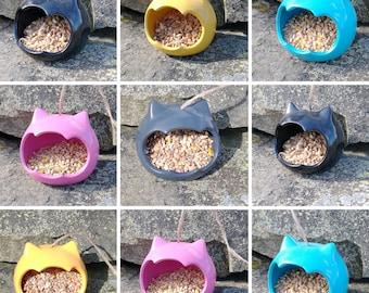 Choose Your Own Colour  Cat Head Ceramic Novelty Wild Bird Seed Feeder