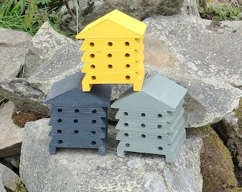 Bee House Choose Your Own Colours Wooden Beehive Insect Bug Hotel Gardening Gifts - Save The Bees