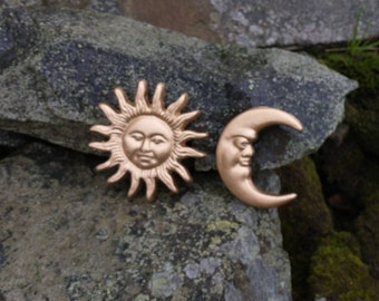 Gold Sun & Moon Cast Iron Wall Hanging