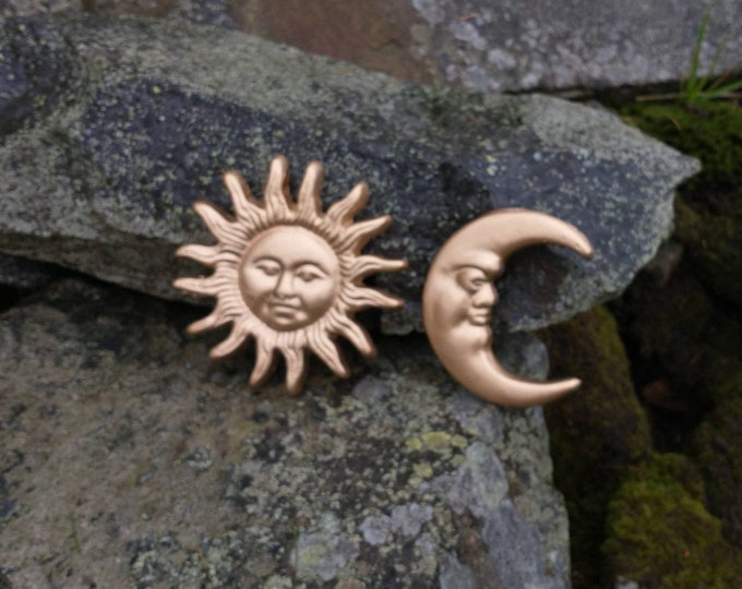 Gold Sun & Moon Cast Iron Wall Hanging