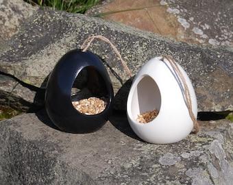 Black & White Bird Feeder Christmas Gift Set Set of 2 Ceramic Wild Bird Seed Feeders, mix and match, choose your own, garden, gardening