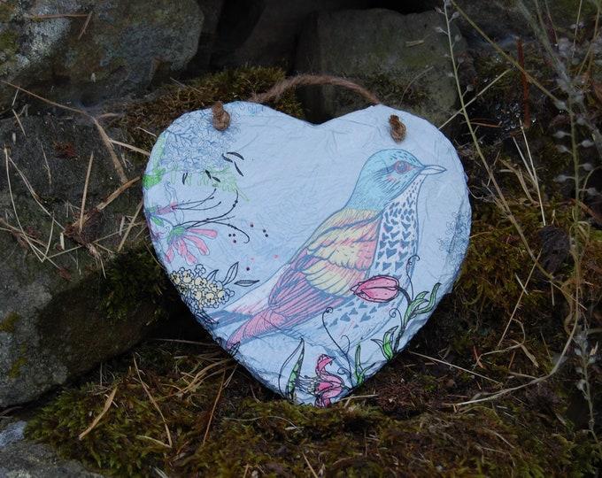 Blue Bird Floral Slate Heart Hanger - Hanging Heart  - Garden Decor - Decorative Sculpture