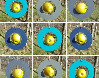 Choose Your Own Colours -  Circle Round Wooden Bird Feeder - Fruit, Apple, Fat Balls, Suet
