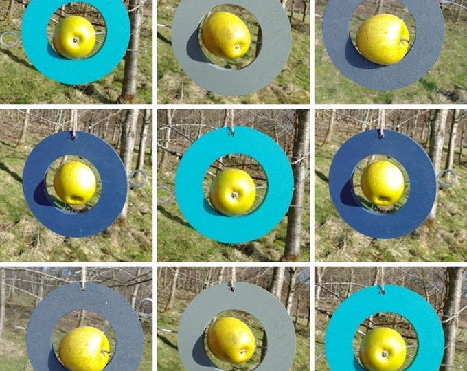 Choose Your Own Colours -  Circle Round Wooden Bird Feeder - Fruit, Apple, Fat Balls, Suet