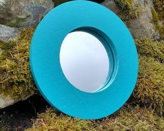 Teal Blue Round Circle Wooden Garden Mirror - Wall Art - Garden Décor