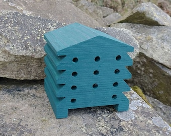 Bee House Dark Green Wooden Beehive Insect Bug Hotel Gardening Gifts - Save The Bees