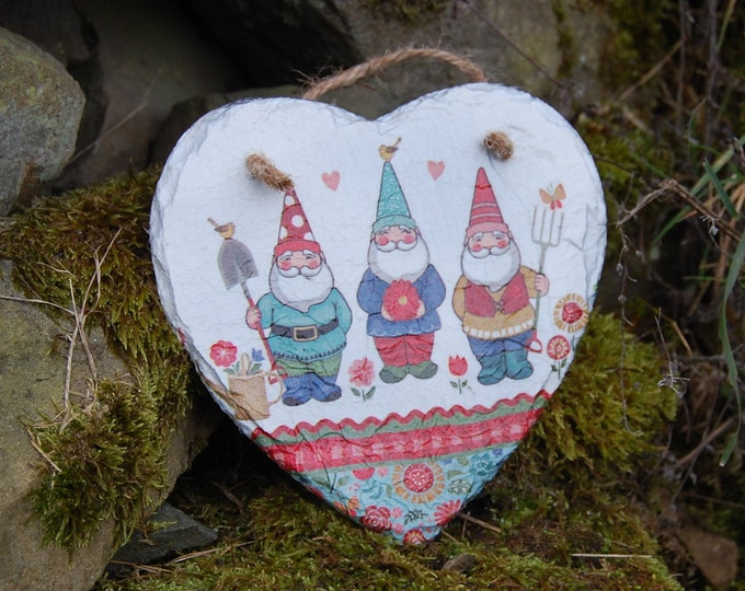 Garden Gnomes, Patchwork, Flowers, Slate Heart Hanger - Hanging Heart  - Garden Decor - Decorative Sculpture