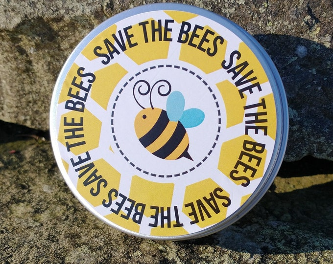 Save The Bees Wildflower Seed Bombs Seed Balls Birthday Tin Garden Bee Scented - Peat Free - No Grass - Yellow Honeycomb