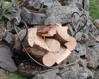 Heart Steel Log Rack - Fire Pit Storage - Firewood Storage - Garden - BBQ - Chimnea - Pizza Oven - Love