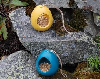 Mustard Yellow & Teal Blue Bird Feeder Gift Set Set of 2 Ceramic Wild Bird Seed Feeders, mix and match, choose your own, garden, gardening