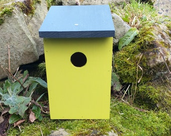 Two-Tone Lime Green & Dark Slate Grey Wooden Bird House Nest Box