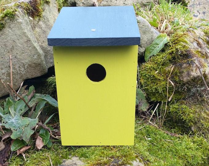 Two-Tone Lime Green & Dark Slate Grey Wooden Bird House Nest Box