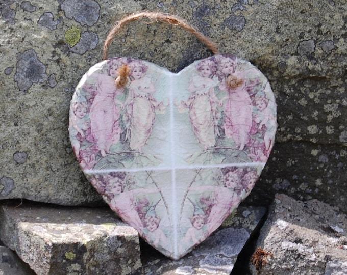 Vintage Pink Fairy Patchwork Slate Heart Hanger - Hanging Heart  - Garden Decor - Decorative Sculpture