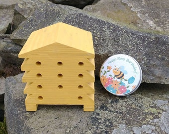 Happ-Bee Birthday Gift Set - Mustard Yellow Beehive Bee Hotel Bug House and Wildflower Seed Bombs