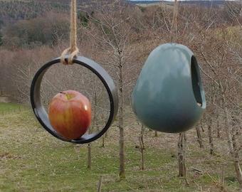 Bird Feeder Choose Your Own Colour Ceramic Bird and Round Flat Bar Fruit Feeder Gift Set - Gardening Gifts - Birds - Apple - Balls - Suet
