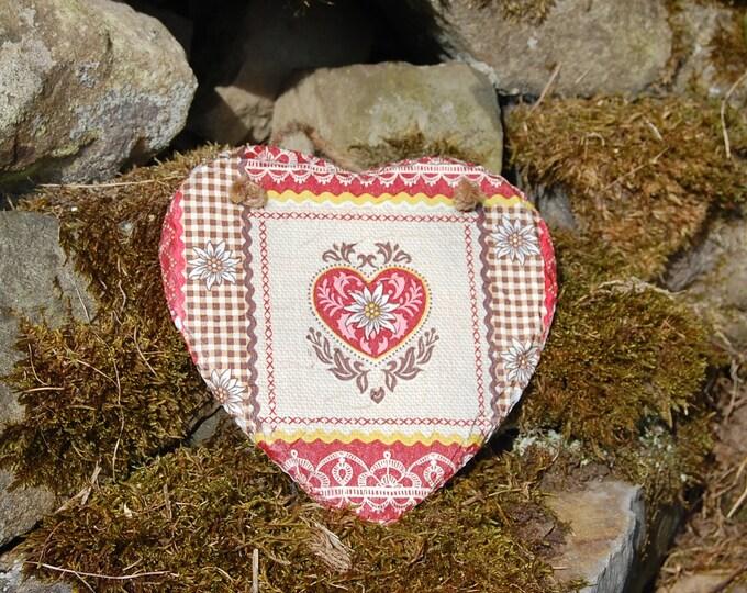 Red Patchwork Narrow-boat Slate Heart Hanger - Hanging Heart  - Garden Decor - Decorative Sculpture