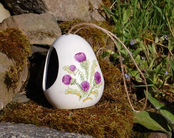 Scottish Thistle Two Tone White andPurple Ceramic Wild Bird Seed Feeder  - Gardening Gifts - Scottish Gifts - Birds - Apple - Balls - Suet