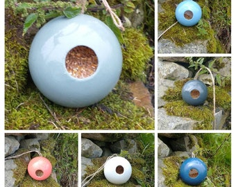 Globe Ceramic Bird Feeder Choose Your Own Colour - Ceramic Bird House - Gardening Gifts - Birds - Apple - Balls - Suet