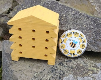 Save The Bees Gift Set - Mustard Yellow Beehive Bee Hotel Bug House and Wildflower Seed Bombs - Yellow