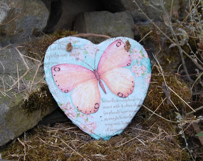 Pink Butterfly Text Slate Heart Hanger - Hanging Heart  - Garden Decor - Decorative Sculpture, Shabby Chic