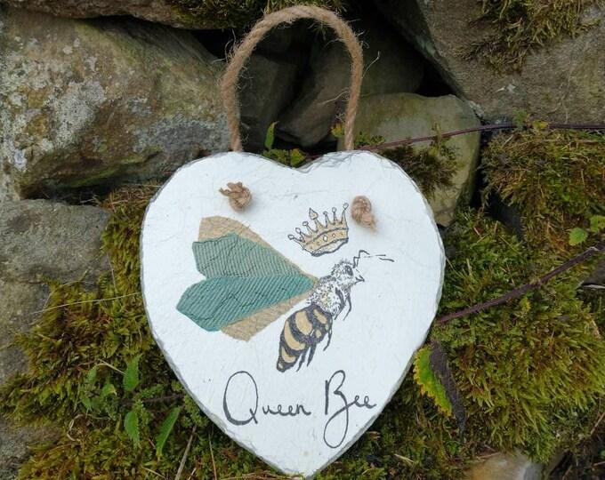 Queen Bee Slate Heart Hanger - Hanging Heart  - Garden Decor - Decorative Sculpture Gardening - Bumble Bee - Save the Bees