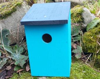 Two-Tone Turquoise Blue & Dark Slate Grey Wooden Bird House Nest Box