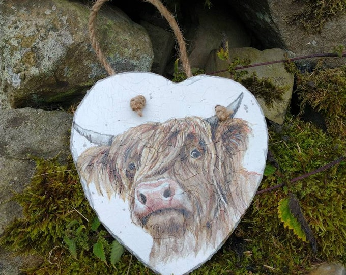Highland Cow Slate Heart Wall Hanging
