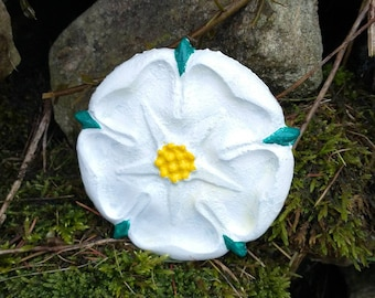 White Yorkshire Rose Wall Hanging