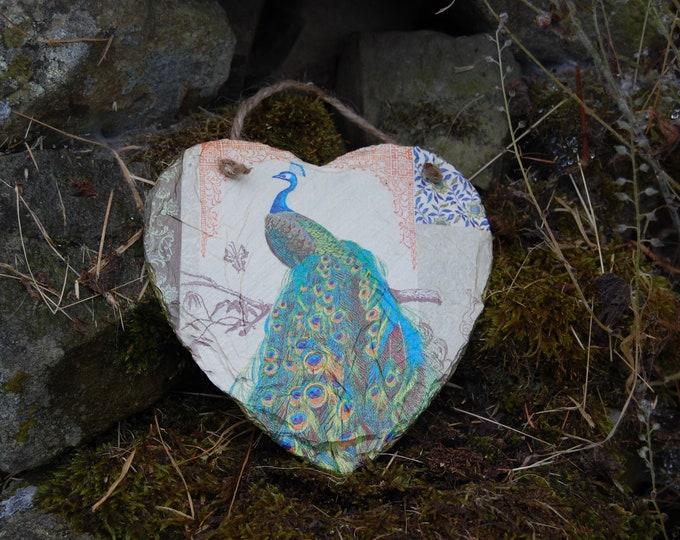 Golden Peacock Slate Heart Hanger - Hanging Heart  - Garden Decor - Decorative Sculpture