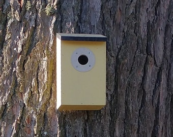 Two-Tone Primrose Yellow & Dark Slate Grey Wooden Bird House Nest Box