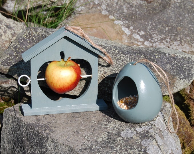 Sea Green Bird Feeder Christmas Gift Set bundle Ceramic Wild Bird Seed Feeder & Fruit Fat Ball Feeder, mix and match, choose your own,