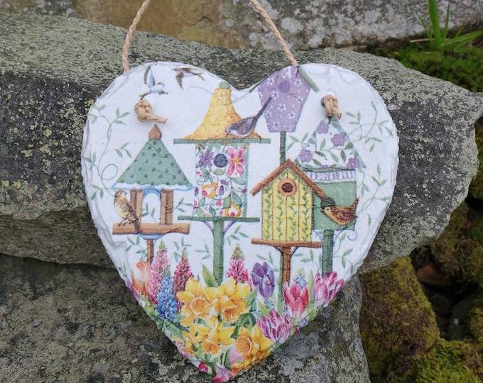 Patchwork Bird Houses Slate Heart Hanger - Hanging Heart  - Garden Decor - Decorative Sculpture